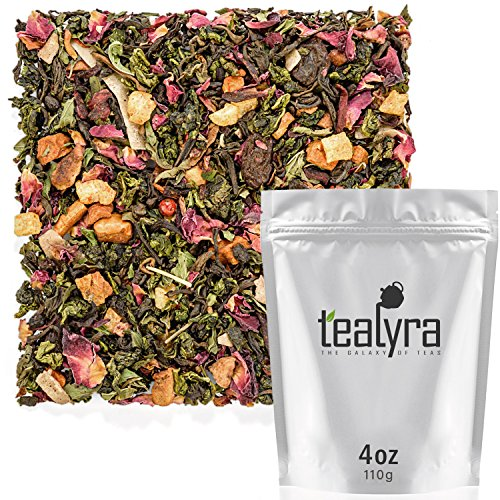 Tealyra - Berry Rose Slenderize - Pu Erh 5 Year Aged with Green Oolong - Loose Leaf Tea Blend - Diet - Weight Loss - Wellness Healthy Tea - All Natural Ingredients - 110g (4-ounce)