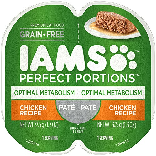 IAMS PERFECT PORTIONS Adult Grain Free Optimal Metabolism Healthy Weight Wet Cat Food Paté Chicken Recipe, (24) 2.6 oz. Easy Peel Twin-Pack Trays