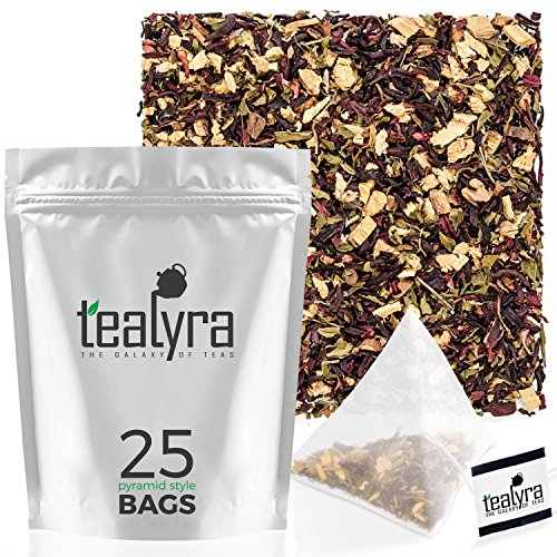 Tealyra - Flat Belly Detox - 25 Bags - Fennel - Peppermint - Hibiscus - Wellness Herbal Loose Leaf Tea - Cleanse Tea - Caffeine Free - Pyramids Style Sachets