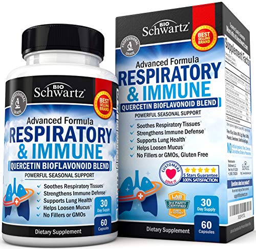 Respiratory Supplement with Quercetin for Lung Health Support - Soothes Respiratory Tissues & Helps Loosen Mucus - with Vitamins C & D to Promote Reduction in Oxidative Stress - 60 Capsules