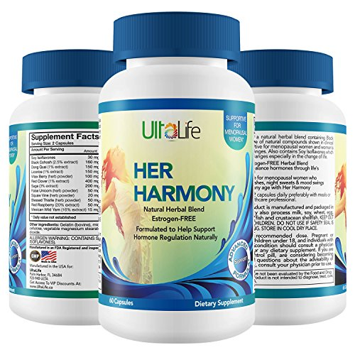 Her Harmony #1 Best Menopause Supplement w/Black Cohosh Relief from Mood Swings, Irritability, Hot Flashes, Night Sweats & Weight Gain Estrogen-Free Reset to Balance Hormones & Feel Good Again (HH-60)