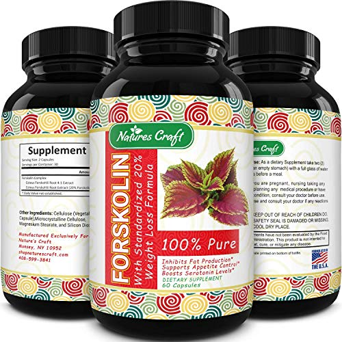 Forskolin Weight Loss Supplement for Men & Women Pure Coleus Forskohlii Extract Diet Pills Fat Burner Capsules Natural Appetite Suppressant Metabolism Booster Extra Strength by Natures Craft