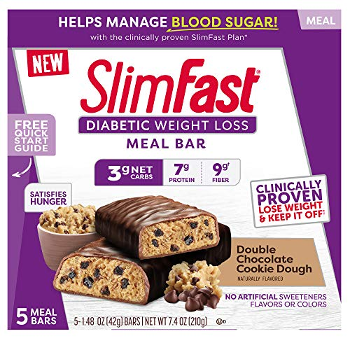 SlimFast Diabetic Weight Loss Meal Replacement Bar, Double Chocolate Cookie Dough, 5 Count