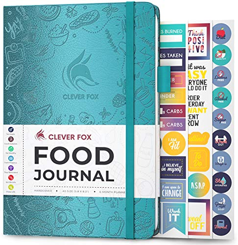 Clever Fox Food Journal - Daily Food Diary, Meal Planner to Track Calorie and Nutrient Intake, Stick to a Healthy Diet & Achieve Weight Loss Goals. Undated - Start Anytime. A5, Hardcover - Aquamarine