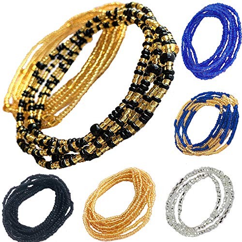 Tuoshei 6 Piece Summer Jewelry Waist Bead Set Colorful Waist Bead Belly Bead African Waist Bead Body Chain Beaded Belly Chain Bikini Jewelry for Woman