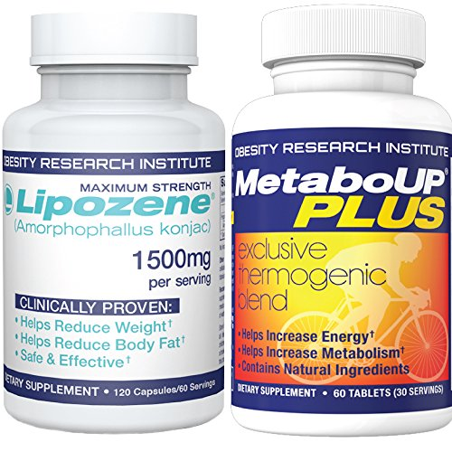 Lipozene Weight Loss Combo Mega Bottle 120 Count Plus MetaboUP Thermogenic Supplement 60 Count - Boost Metabolism, Increase Energy, and Control Your Appetite