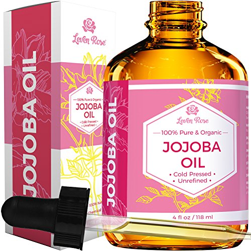 Jojoba Oil by Leven Rose, Pure Cold Pressed Natural Unrefined Moisturizer for Skin Hair and Nails, 4 Fl Oz
